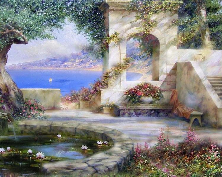 Фонтан, океан, арка, цветы
