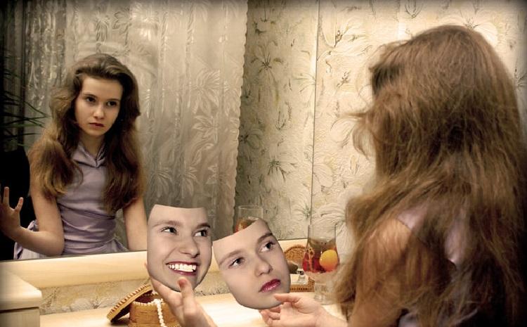 Девушка. маски, зеркало
