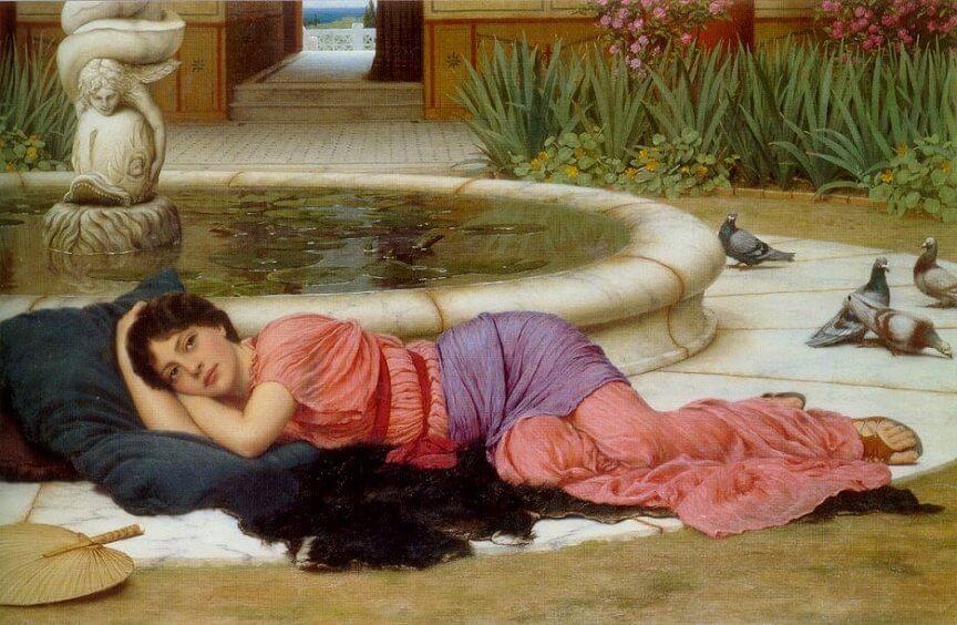 Женщина у фонтана